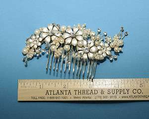 IVORY MATTE FLOWERS CRYSTAL STONES/PEARLS HAIR COMB