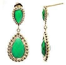 Pear Shaped Green Onyx Dangle Earrings in 14K Yellow Gold