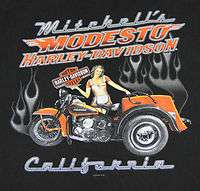 HARLEY DAVIDSON Mens T Shirt PINUP GIRL & TRIKE   MODESTO CALIFORNIA