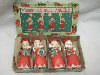 COMMODORE PORCELAIN NOEL ANGELS CANDLE HOLDER POINSETTIA CHRISTMAS