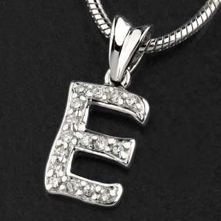 New Women/Men 925 Sterling Silver CZ Initial Letter E Pendants