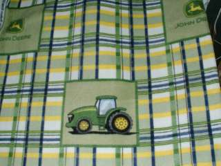 28x45 John Deere Tractor Emblem Green Blue Yellow Plaid Baby Toddler
