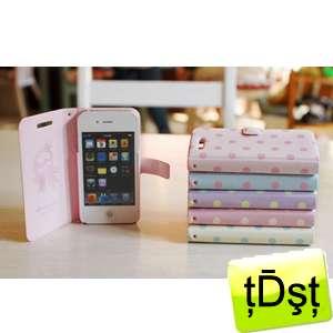 Happymori] Diary Type Bead Flip Skin Leather Case Cover Apple iPhone4