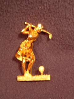 Great vintage Lady Golfer pin by Weisner. Golfer is about to hit a