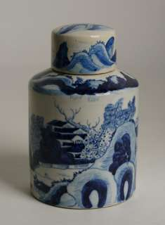 Antique Chinese Blue White Porcelain Tea Caddy/Signed 19th Century