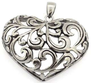 Style Stainless Steel Heart Love Leaf Pendant Necklace Mens