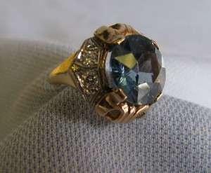 STUNNING Antique 10ct Blue Spinel 14k Gold Ring sz 5
