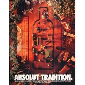 1995 Ad Absolut Vodka Christmas Holiday Tradition Model Train Track