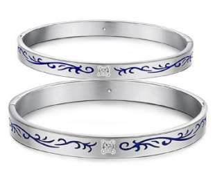 Quality 316L Stainless Steel Leaf Engraved w/GEM Silver Couple Bangle