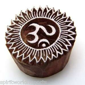 OM Henna Stamp Wood Block Print Hindu Indian Hand Carved