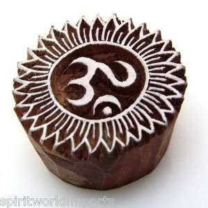 OM Henna Stamp Wood Block Print Hindu Indian Hand Carved |