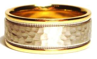 MENS WEDDING BAND RINGS 14k TWO TONE GOLD HAMMERED 8MM