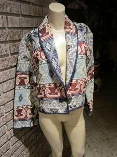 Flashback Woven Tapestry Tribal Geometric Cotton Metal Button Jacket M