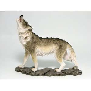 Standing Howling Wolf Statue Figurine