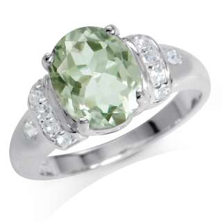 Natural Green Amethyst & White Topaz 925 Sterling Silver Cocktail Ring
