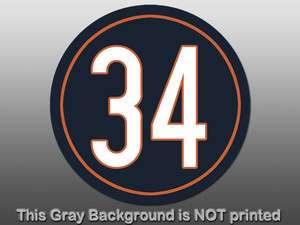 Round 34 Walter Payton Sticker  decal Chicago Bears IL