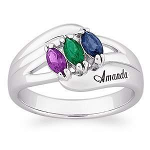 Sterling Silver Daughters Marquise Birthstone Name Ring Jewelry