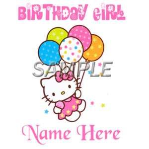 HELLO KITTY BIRTHDAY GIRL IRON ON TRANSFER 3 SIZE