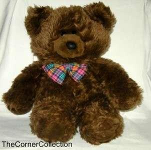 VINTAGE COMMONWEALTH TEDDY BEAR w PLAID BOW TIE 18