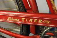 Vintage 1955 Schwinn Tiger middleweight bicycle bike Red 3 spd Sturmey