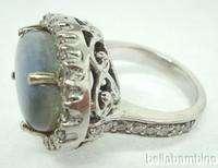 14K WHITE GOLD OPAL DIAMONDS LADIES COCKTAIL RING