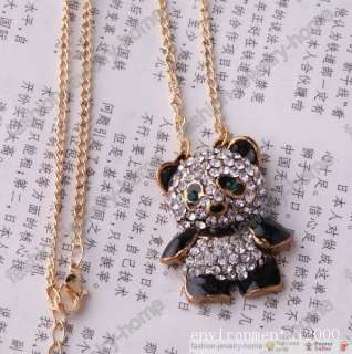 Fashion clear crystal panda necklace pendant