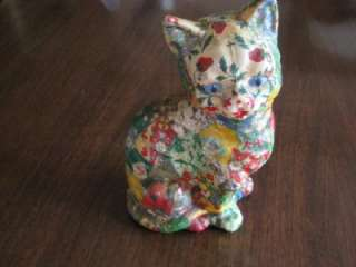 Adorable Vintage CALICO Fabric Covered Plaster CAT