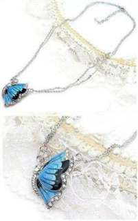 Fashion Charm Crystal Blue Butterfly Pendant & Necklace x11 great gift