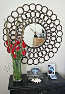 Looped Rings Round WALL ACCENT MIRROR Dark Antiqued 38 NEW
