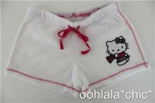 HELLO KITTY Sanrio Plush White Terry Cloth Shorts NWT