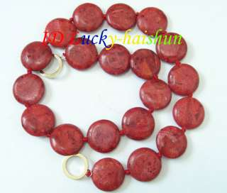 genuine 20mm natural coin red sponge coral necklace