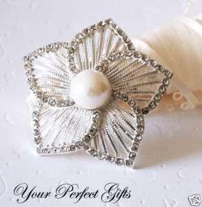 Rhinestone Crystal Pearl Brooch Wedding Cake Decoration