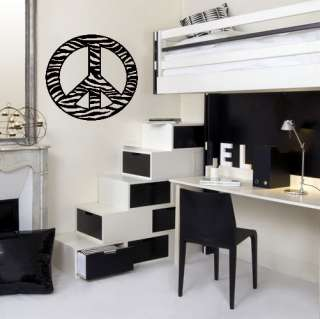 PEACE SIGN ZEBRA PRINT Wall Decal Sticker, Highest Quality, Made in