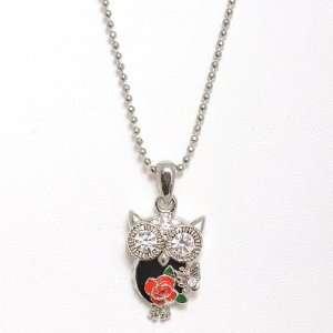 Silver Plated Crystal Deco Matahari Black Owl Charm