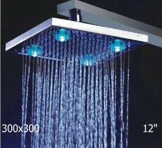 12chromed brass square LED rain shower head YS 8105