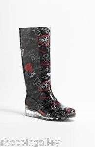 Pixy Poppy Heart Rubber Rubber Rain Boots RainBoots Shoes Black Blk