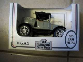 1991 ERTL 1918 Runabout Barrel Bank Die Cast Metal NIB