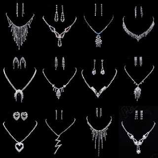 24Fine(12sets)silver tone rhinestone necklace&earring