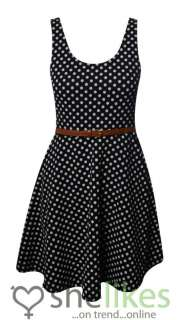 Ladies Polka Dots Black White Belted Pleated Party Dresses