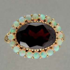 GARNET 6.50CT 22 OVAL OPAL 9K PINK GOLD RING SIZEABLE 7 3/4