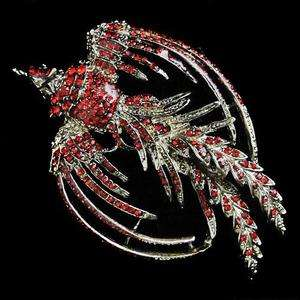 Retro Phoenix Rebirth Pin Brooch Red Swarovski Crystal Bird Peacock