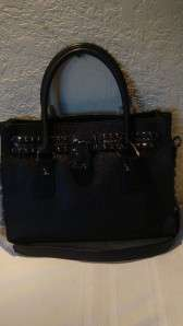 MICHAEL KORS HAMILTON ROCK & ROLL EW SATCHEL BLACK GENUINE LEATHER