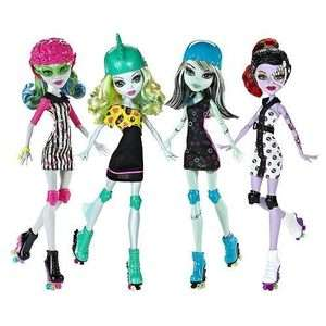 MONSTER HIGH ROLLER MAZE FRANKIE LAGOONA OPERETTA GHOULIA 4 DOLL LOT