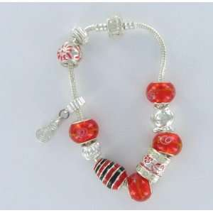 European Sterling Silver 8 Bead Charm Friendship Story Bracelet with