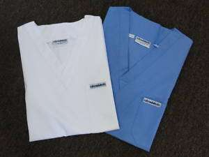 NEW WHITE OR CEIL BLUE NURSES SCRUB TOPS. LIMITED OFFER