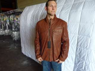 489 Andrew Marc bourbon Moto Rally jacket bourbon BROWN leather
