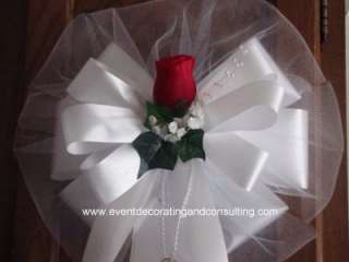 RED ROSE WHITE TULLE Satin Ribb Pew Bows for Weddings
