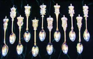 The Jeweled Crowns Carl Faberge Spoon Collection 24Kt Gold Plated SS