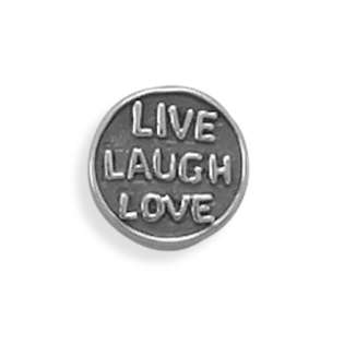 Oxidized Sterling Silver Round Story Bead Charm With Live Laugh Love