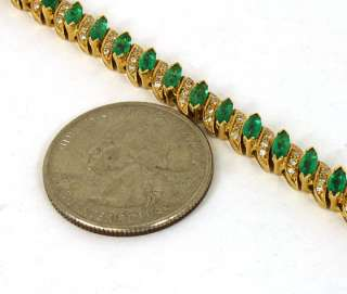 18K GOLD & 8 CTS EMERALDS & DIAMONDS TENNIS BRACELET